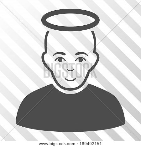 Gray Holy Man toolbar icon. Vector pictograph style is a flat symbol on diagonally hatched transparent background.