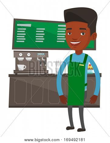 An african-american barista sanding in front of coffee machine. Barista making a cup of coffee. Friendly barista at work at coffee shop. Vector flat design illustration isolated on white background.