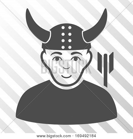 Gray Horned Warrior interface pictogram. Vector pictograph style is a flat symbol on diagonal hatch transparent background.