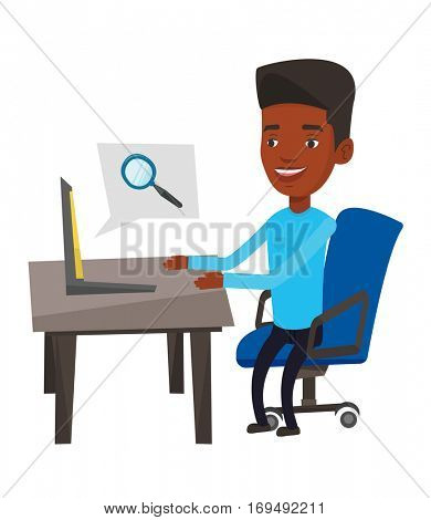 African-american businessman working on a laptop in office and searching information on internet. Internet search and job search concept. Vector flat design illustration isolated on white background.