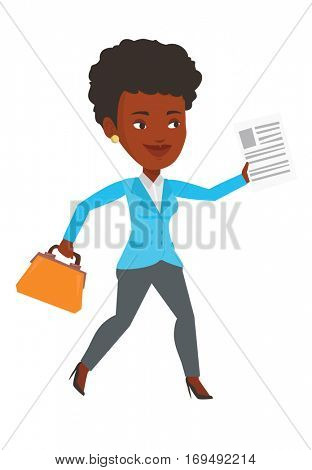 African-american business woman with briefcase and a document running. Business woman running in a hurry. Business woman running forward. Vector flat design illustration isolated on white background.