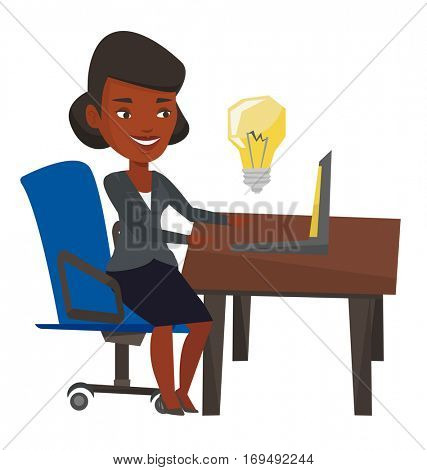 An african woman having a business idea. Young businesswoman working on laptop on a new business idea. Successful business idea concept. Vector flat design illustration isolated on white background.