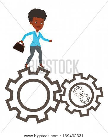 African-american business woman running on cogwheels. Business woman running to success. Business woman running in a hurry to success. Vector flat design illustration isolated on white background.