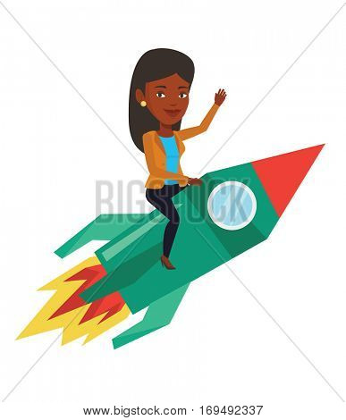 African businesswoman on business start up rocket waving. Businesswoman flying on the business start up rocket. Business start up concept. Vector flat design illustration isolated on white background.