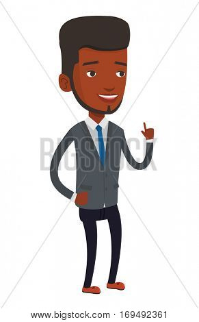 African-american businessman pointing finger up because he came up with business idea. Man having business idea. Business idea concept. Vector flat design illustration isolated on white background.