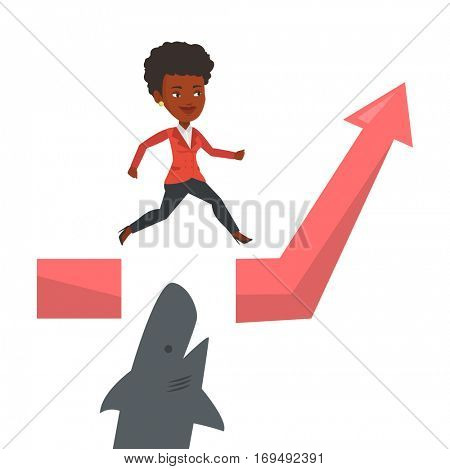 Business woman running on graph and jumping over gap. Business woman jumping over ocean with shark. Business growth and risks concept. Vector flat design illustration isolated on white background.