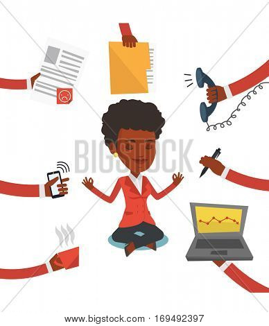 African hard working business woman. Young business woman surrounded by many hands that give her a lot of work. Concept of hard working. Vector flat design illustration isolated on white background.