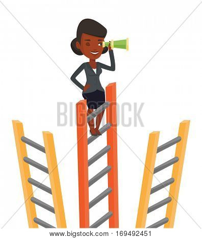 African businesswoman searching for opportunities. Woman using spyglass for searching of opportunities. Business opportunities concept. Vector flat design illustration isolated on white background.
