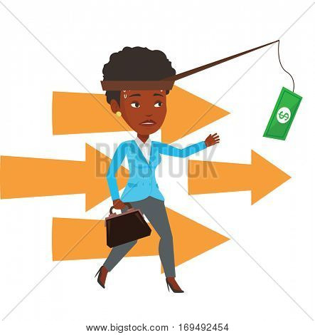 Businesswoman motivated by money hanging on fishing rod. Money on fishing rod as motivation for businesswoman. Business motivation concept. Vector flat design illustration isolated on white background