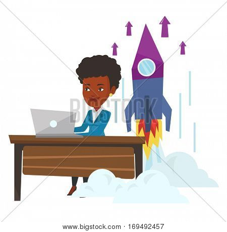 Young african businesswoman working on business start up and business start up rocket taking off behind her. Business start up concept. Vector flat design illustration isolated on white background.