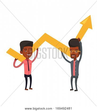 Two african-american businessmen holding growth graph. Cheerful business team with growth graph. Concept of business growth and teamwork. Vector flat design illustration isolated on white background.
