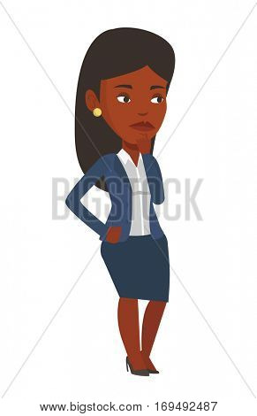 Concentrated african-american business woman thinking. Young business woman thinking of something. Concept of business thinking. Vector flat design illustration isolated on white background.
