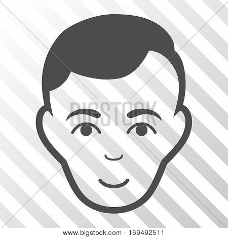 Gray Man Face interface pictogram. Vector pictogram style is a flat symbol on diagonal hatch transparent background.
