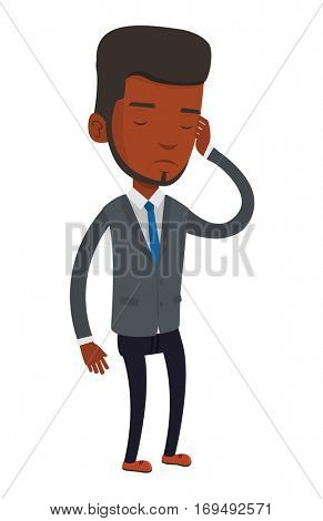 African-american businessman thinking with closed eyes. Businessman scratching head during thinking process. Concept of business thinking. Vector flat design illustration isolated on white background.