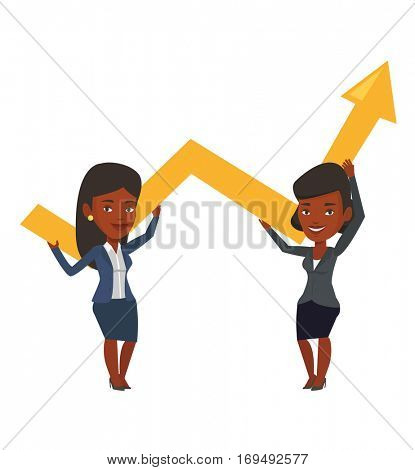 Two african-american businesswomen holding growth graph. Cheerful business team with growth graph. Concept of business growth and teamwork. Vector flat design illustration isolated on white background
