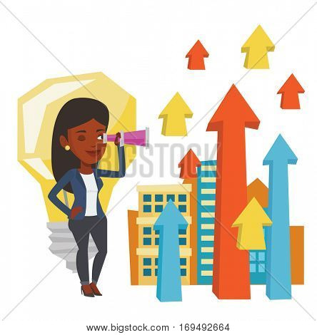 African woman looking through spyglass at arrows going up and idea bulb. Business woman looking for creative idea. Business idea concept. Vector flat design illustration isolated on white background.
