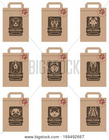 collection of various food packages with dogs heads