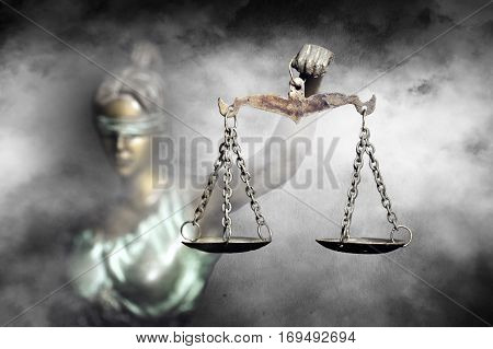 Lady Justice on grunge and fog background