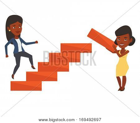 Woman runs up the career ladder while another woman builds this ladder. Businesswoman climbing the career ladder. Business career concept. Vector flat design illustration isolated on white background.