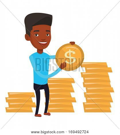 African successful businessman with dollar golden coin in hands. Successful businessman holding golden coin. Business success concept. Vector flat design illustration isolated on white background.