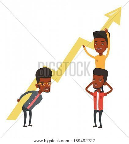 Three african-american businessmen holding growth graph. Cheerful business team with growth graph. Concept of business growth and teamwork. Vector flat design illustration isolated on white background