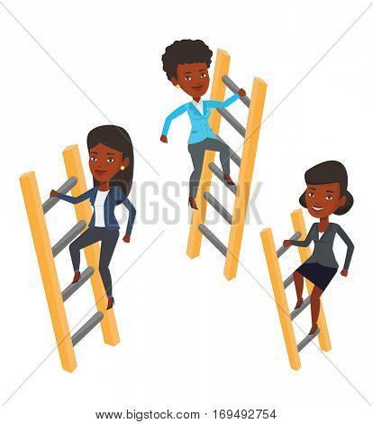 African-american business people climbing the ladders. Businesswomen climbing to success. Concept of success and competition in business. Vector flat design illustration isolated on white background.