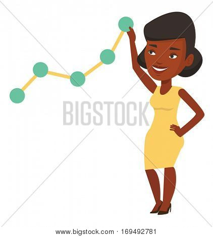 African businesswoman pulling up a business chart. Young businesswoman looking at chart going up. Businesswoman lifting a business chart. Vector flat design illustration isolated on white background.