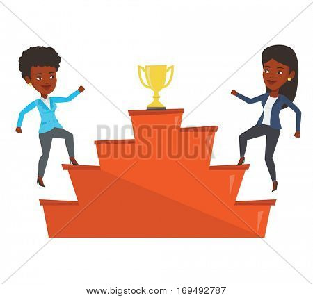 Two businesswomen competing to get golden trophy. Competitive businesswomen running up for the winner cup. Business competition concept. Vector flat design illustration isolated on white background.