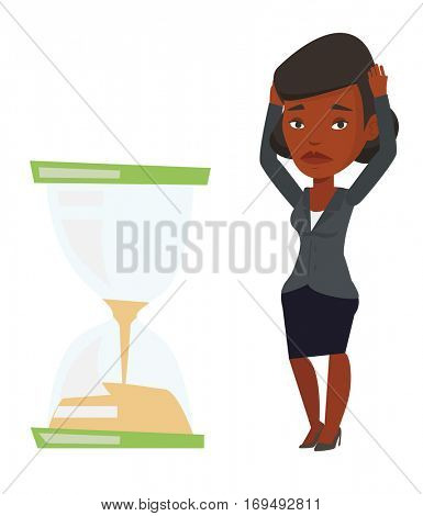 African businesswoman looking at hourglass symbolizing deadline. Woman worrying about deadline terms. Time management and deadline concept. Vector flat design illustration isolated on white background