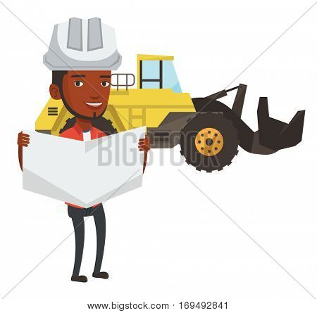 African-american engineer in helmet watching a blueprint. Young man with engineer blueprint. An engineer in hard hat holding a blueprint. Vector flat design illustration isolated on white background.