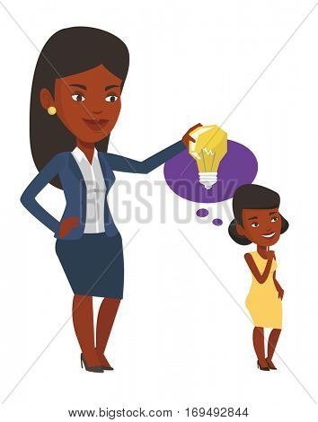 African-american woman holding idea bulb over head of her collegue. Businesswoman giving idea to her partner. Business idea concept. Vector flat design illustration isolated on white background.