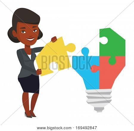 African-american businesswoman completing light bulb made of puzzle. Woman inserts the missing puzzle in light bulb. Business idea concept. Vector flat design illustration isolated on white background