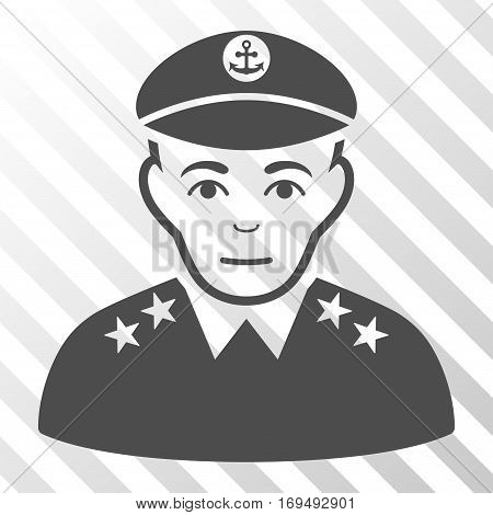 Gray Military Captain interface toolbar icon. Vector pictogram style is a flat symbol on diagonal hatch transparent background.
