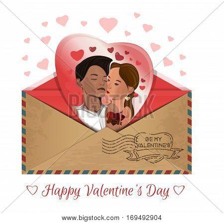 Happy Valentine's Day. love letter. Valentine envelope. Couple in love. The guy kisses a girl. Vector illustration