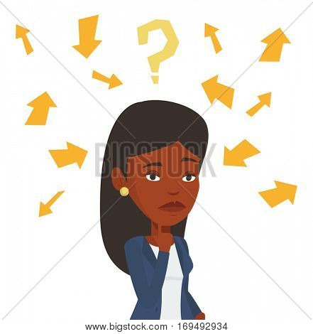 Woman standing under question mark and arrows. Business woman thinking. Thoughtful businesswoman surrounded by question mark and arrows. Vector flat design illustration isolated on white background.