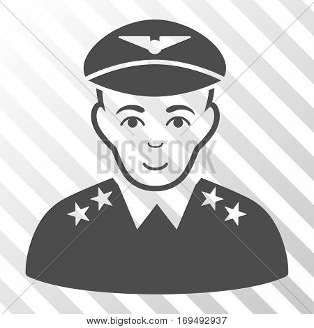 Gray Military Pilot Officer interface icon. Vector pictograph style is a flat symbol on diagonal hatch transparent background.