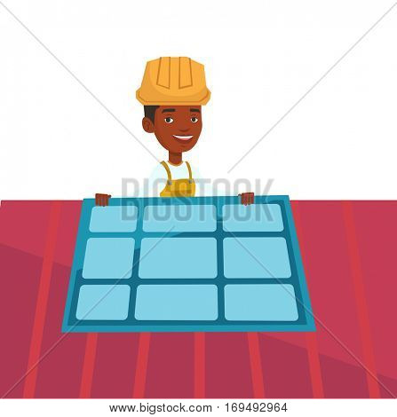 African-american man installing solar panels on the roof. Technician in hard hat checking solar panel on roof. Man adjusting solar panel. Vector flat design illustration isolated on white background.