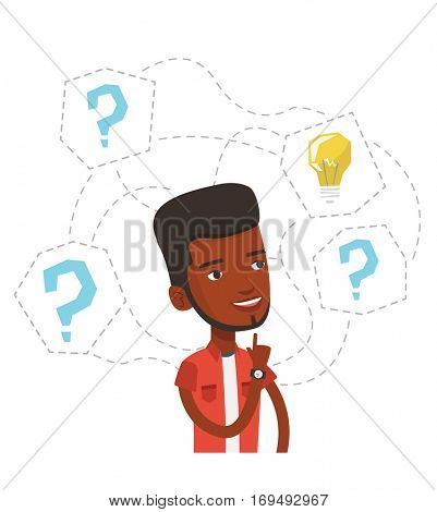 African-american man having business idea. Businessman standing with question marks and idea bulb above his head. Business idea concept. Vector flat design illustration isolated on white background.