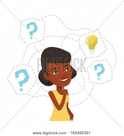 African-american woman having business idea. Businesswoman standing with question marks and idea bulb above head. Business idea concept. Vector flat design illustration isolated on white background.