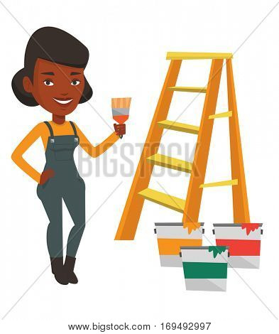 House painter holding a paintbrush. House painter with paintbrush standing near step-ladder and paint cans. Concept of house renovation. Vector flat design illustration isolated on white background.