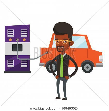 African-american man charging electric car at charging station. Man standing near power supply for electric car. Charging of electric car. Vector flat design illustration isolated on white background.