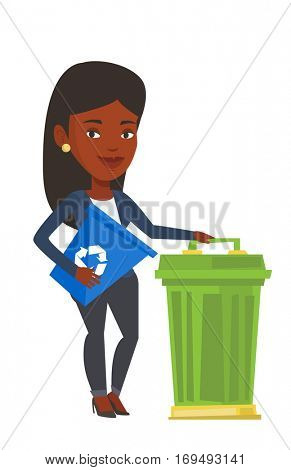 African-american woman holding recycling bin while standing near a trash can. Young woman carrying recycling bin. Waste recycling concept. Vector flat design illustration isolated on white background.