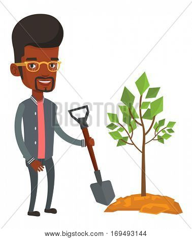 An african man plants a tree. Man standing with shovel near newly planted tree. Young man gardening. Environmental protection concept. Vector flat design illustration isolated on white background.