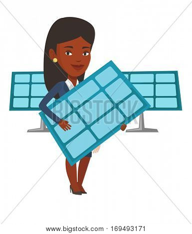 African-american worker of solar power plant. Woman holding solar panel in hands. Woman with solar panel in hands. Green energy concept. Vector flat design illustration isolated on white background.