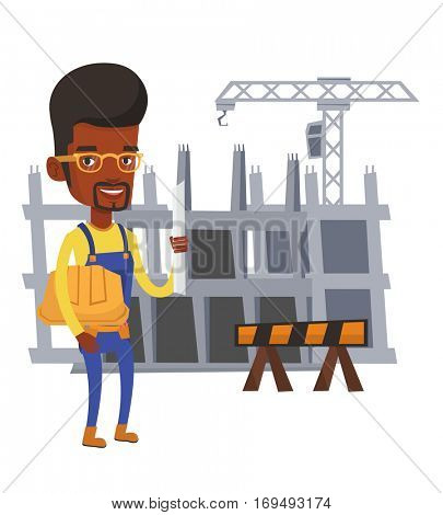 African-american engineer with a blueprint. Engineer holding a twisted blueprint and hard hat. An engineer checking construction works. Vector flat design illustration isolated on white background.