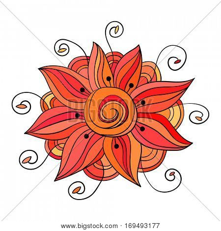 Decorative flower isolated, Hand drawn vector illustration.