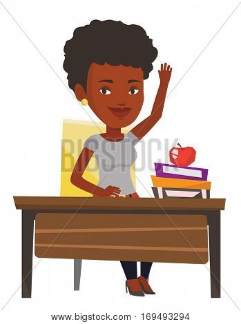 Student raising hand in the classroom for an answer. Sudent sitting at the desk with raised hand. Happy schoolboy raising hand at lesson. Vector flat design illustration isolated on white background.