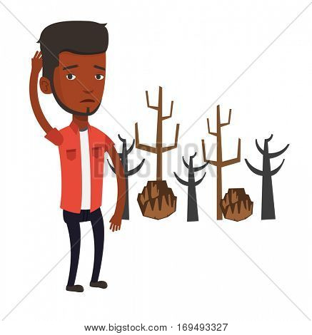 An african-american young sad man scratching head on the background of dead forest. Dead forest caused by global warming or wildfire. Vector flat design illustration isolated on white background.