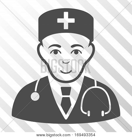 Gray Physician interface icon. Vector pictogram style is a flat symbol on diagonally hatched transparent background.
