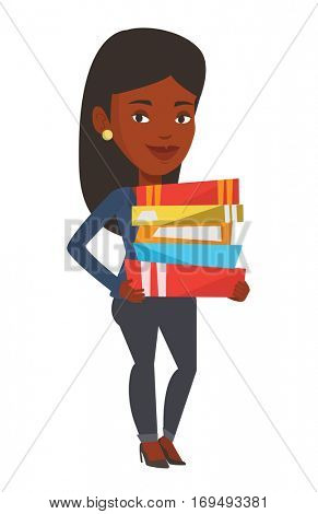 African-american woman holding a pile of educational books in hands. Student carrying huge stack of books. Student holding pile of books. Vector flat design illustration isolated on white background.